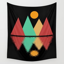 Moon Over Four Peaks Wall Tapestry