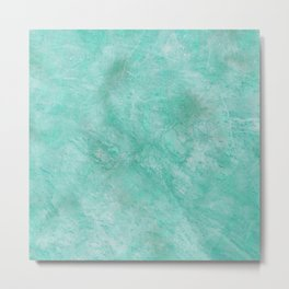 Abstract neo mint aqua white marble pattern Metal Print