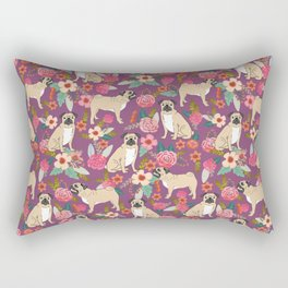 Pug dog breed floral must have cute pugs pure breed pet gifts Rectangular Pillow