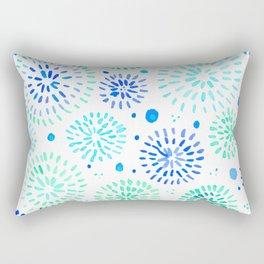 Abstract watercolor sparkles – aqua and blue Rectangular Pillow