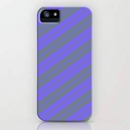 Medium Slate Blue and Slate Gray Colored Lines/Stripes Pattern iPhone Case