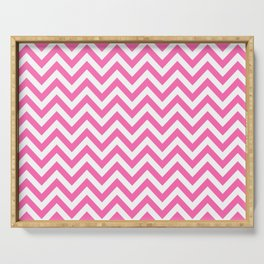 Creamy Pink and White Chevron Serving Tray