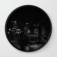 pittsburgh Wall Clocks featuring Pittsburgh Skyline by Ralf Crawford