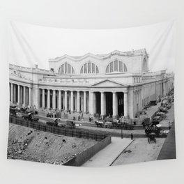Vintage Pennsylvania Railroad Station Photograph Wall Tapestry