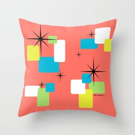 Living Coral Retro Inspired Throw Pillow