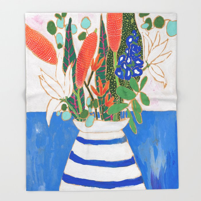 Nautical Striped Vase Of Flowers Throw Blanket By Larameintjes