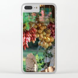 Drying Onions and Vegetable Collage - Kitchen Decor Clear iPhone Case
