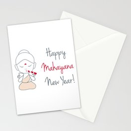 Happy mahayana new year- cute buddha blowing kissed with greeting Stationery Cards