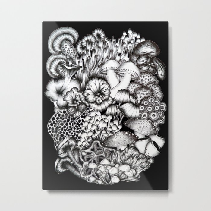 Midnight Mushrooms Metal Print