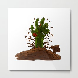 zombie hand coming out of the earth Metal Print