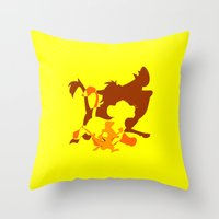 hakuna Throw Pillows featuring Hakuna Matata by emodist