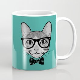 Cat Hipster with Polka Dots Bow Tie Coffee Mug