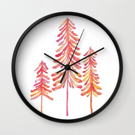 Pine Trees – Pink & Peach Ombré Wall Clock