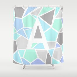 Letter A Geometric Shapes in Cool Colors Shower Curtain