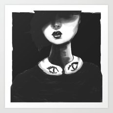 Contemporary Black and White Collar  Art Print