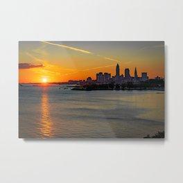 Cleveland Ohio Sunrise City Skyline Lake Erie Photography Print Metal Print