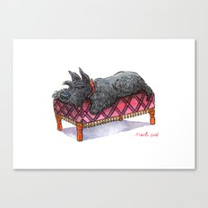 Scottie on a couch Canvas Print