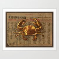 tintin Art Prints featuring The Golden Crab  by Terry Fan