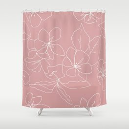 Floral Drawing on Pale Pink Shower Curtain