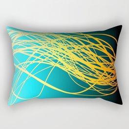 Linear Flow-Blue Gold Rectangular Pillow