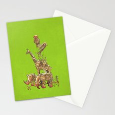 The Clockwork Menagerie (Lime) Stationery Cards
