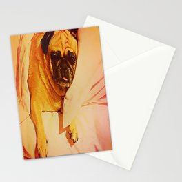 PUG LOVE: Will you bring me breakfast in bed? Stationery Cards