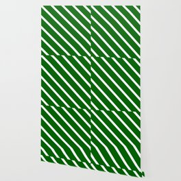 Christmas Green Diagonal Stripes Wallpaper