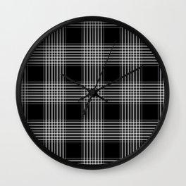 Black & Gray Plaid Print Wall Clock