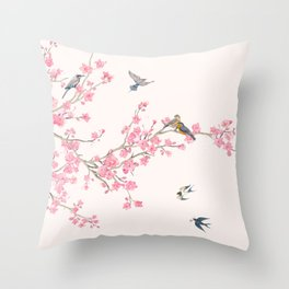 Birds and cherry blossoms Throw Pillow