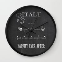 italy Wall Clocks featuring Italy by weisart
