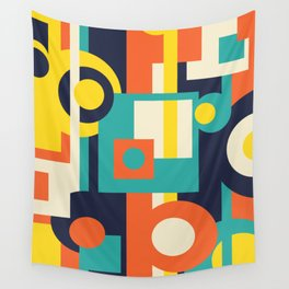 Funky Geometry (Modern Vibrant Color Palette) Wall Tapestry