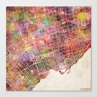 toronto Canvas Prints featuring Toronto by MapMapMaps.Watercolors