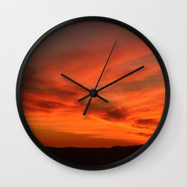 Red and Orange October Sunset Wall Clock