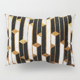 Marble Skyscrapers - Black, White and Gold Pillow Sham