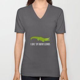 I Love 'Em Toothy Lizards - Reptile Party Alligator Unisex V-Neck
