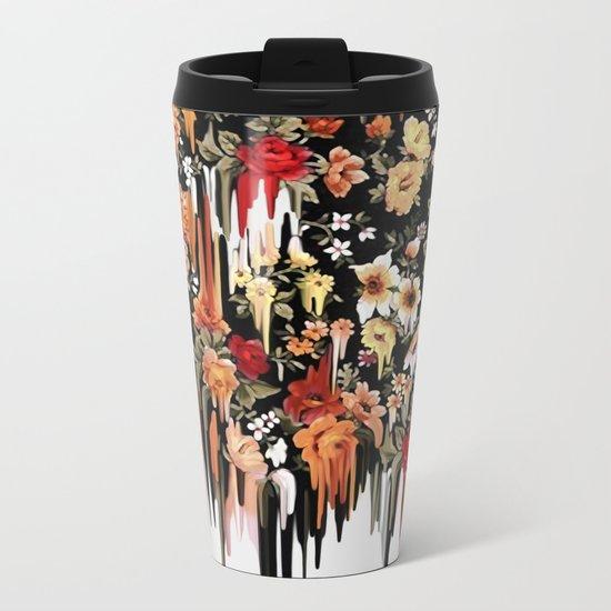 Free Falling, melting floral pattern Metal Travel Mug
