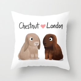 "Custom Bunny Artwork, ""Chestnut and London"" Throw Pillow"