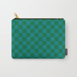 Teal Green and Cadmium Green Checkerboard Carry-All Pouch