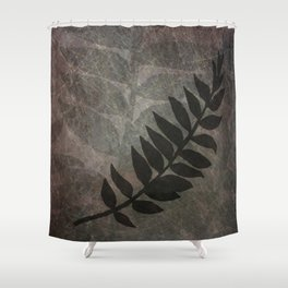 Pantone Red Pear Abstract Grunge with Fern Leaf - Foliage Silhouettes Shower Curtain
