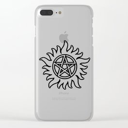 Anti Possession Sigil Black Glow Transp Clear iPhone Case