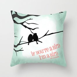 Tree and Love Birds Throw Pillow