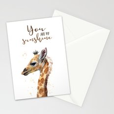 You Are My Sunshine Giraffe Nursery Animals Watercolor Art Stationery Cards