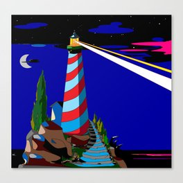 A Night at the Lighthouse with Search Light Active Canvas Print