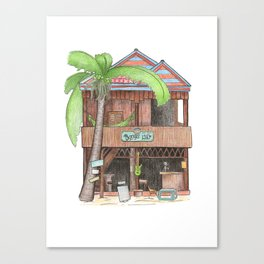 Tropical island hut with palm, travel sketch from Koh Rong island, Cambodia Canvas Print