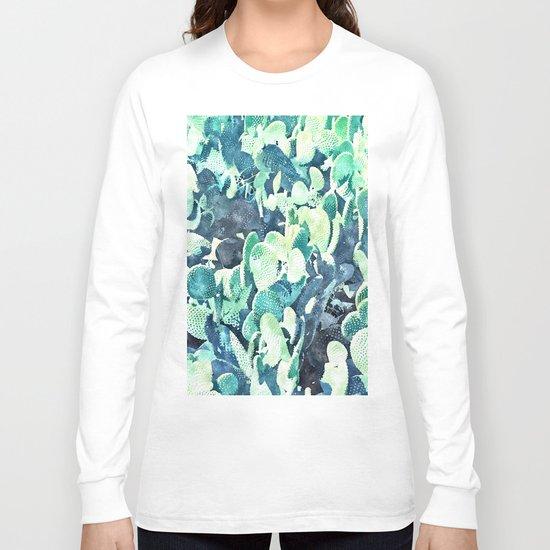 Watercolor Cactus ||| #society6 #decor #buyart Long Sleeve T-shirt