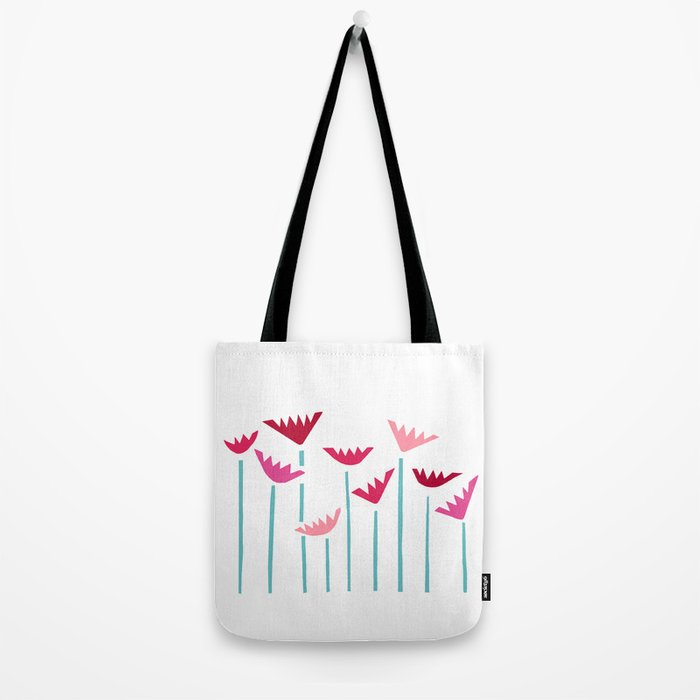 Teal and Pink Tropical Plants Collage Tote Bag