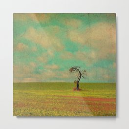 Lonesome Tree in Lime and Orange Field and Aqua and White Sky Metal Print
