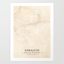 Sarajevo, Bosnia and Herzegovina - Vintage Map Art Print