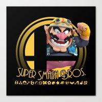smash bros Canvas Prints featuring Wario - Super Smash Bros. by Donkey Inferno