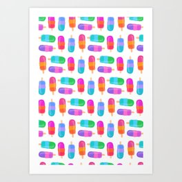 colorful popsicles Art Print